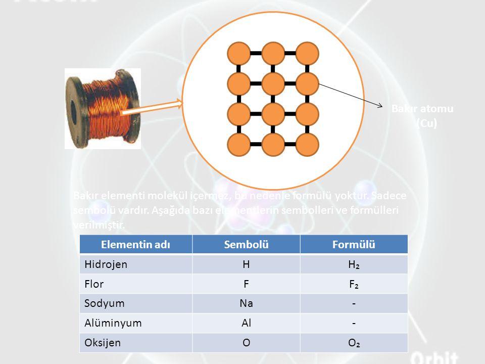 Elementin adıSembolüFormülü HidrojenHH₂ FlorFF₂F₂ SodyumNa- AlüminyumAl- OksijenOO₂ Bakır atomu (Cu) Bakır elementi molekül içermez, bu nedenle formülü yoktur.