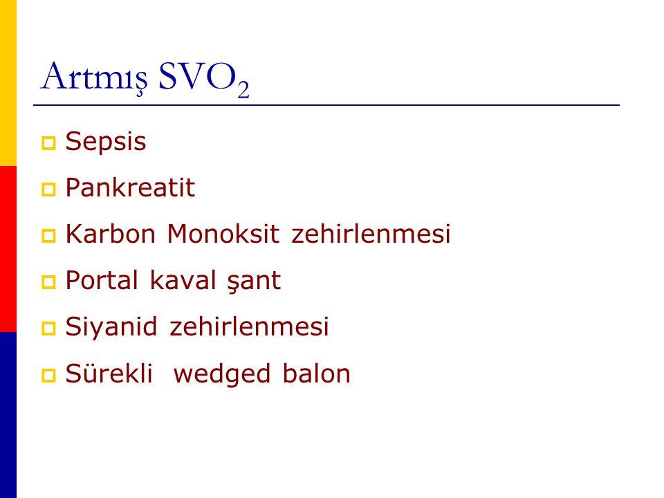 Artmış SVO 2  Sepsis  Pankreatit  Karbon Monoksit zehirlenmesi  Portal kaval şant  Siyanid zehirlenmesi  Sürekli wedged balon