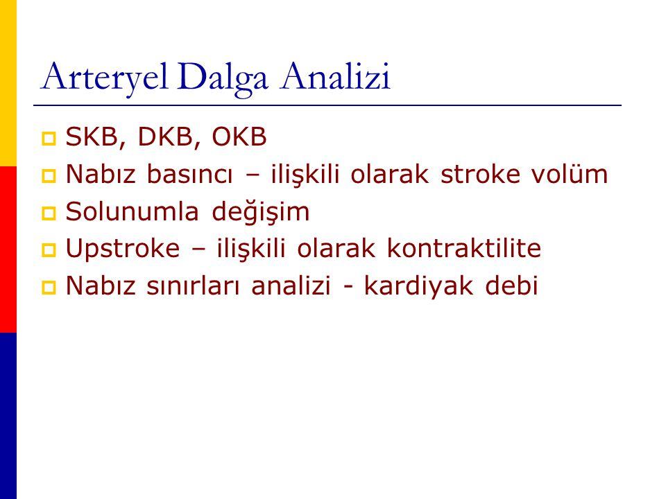 Arteryel Dalga Analizi  SKB, DKB, OKB  Nabız basıncı – ilişkili olarak stroke volüm  Solunumla değişim  Upstroke – ilişkili olarak kontraktilite  Nabız sınırları analizi - kardiyak debi