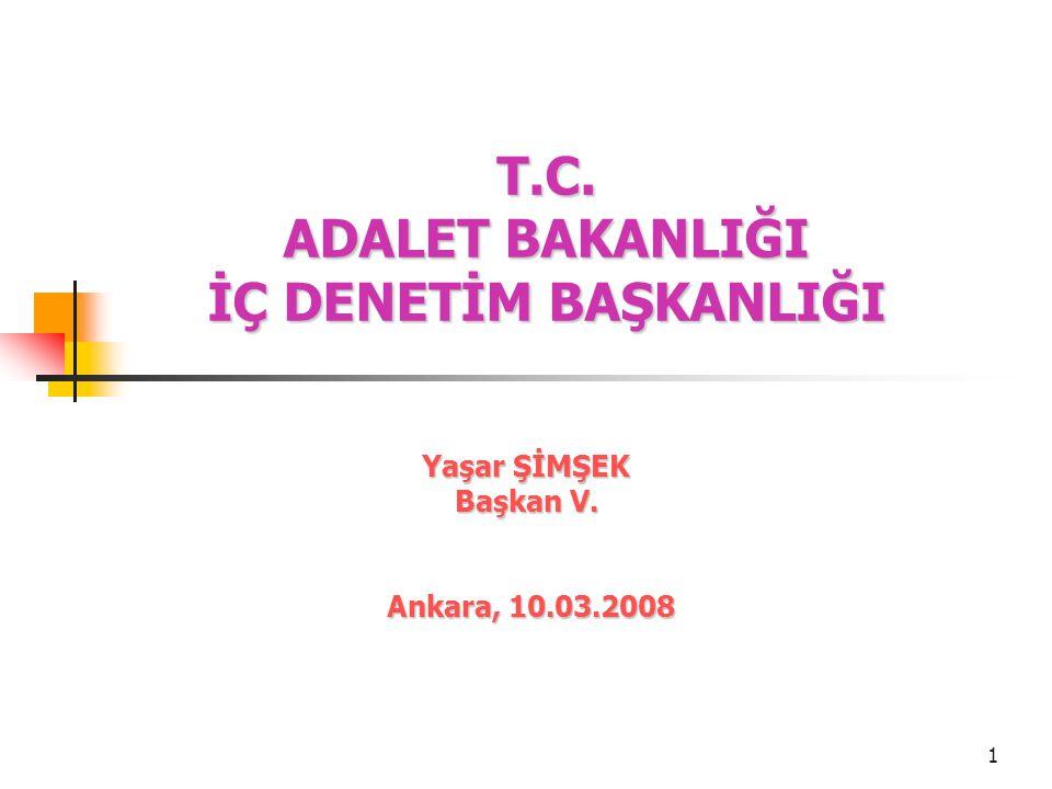1 T.C. ADALET BAKANLIĞI İÇ DENETİM BAŞKANLIĞI Yaşar ŞİMŞEK Başkan V. Ankara, 10.03.2008 Ankara, 10.03.2008