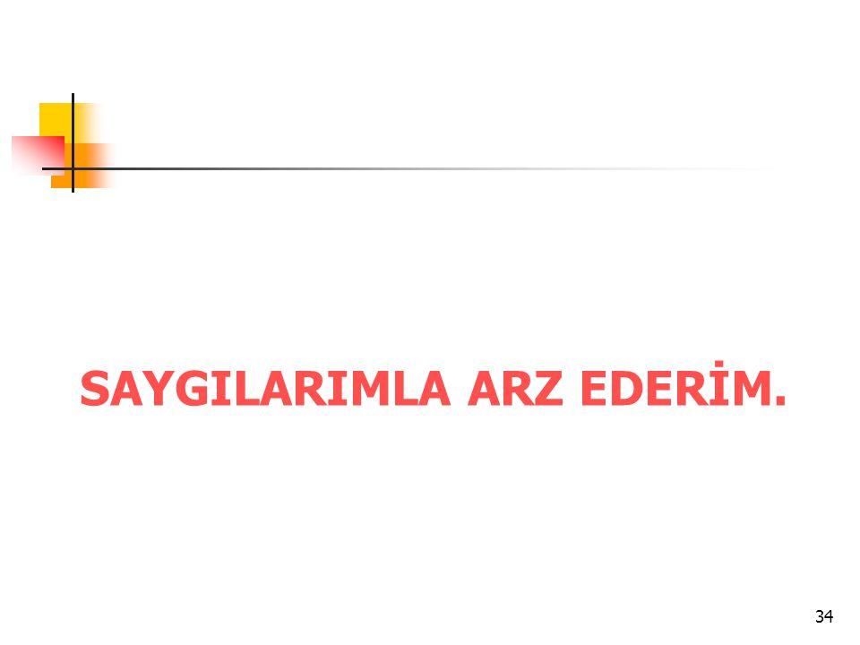 34 SAYGILARIMLA ARZ EDERİM.