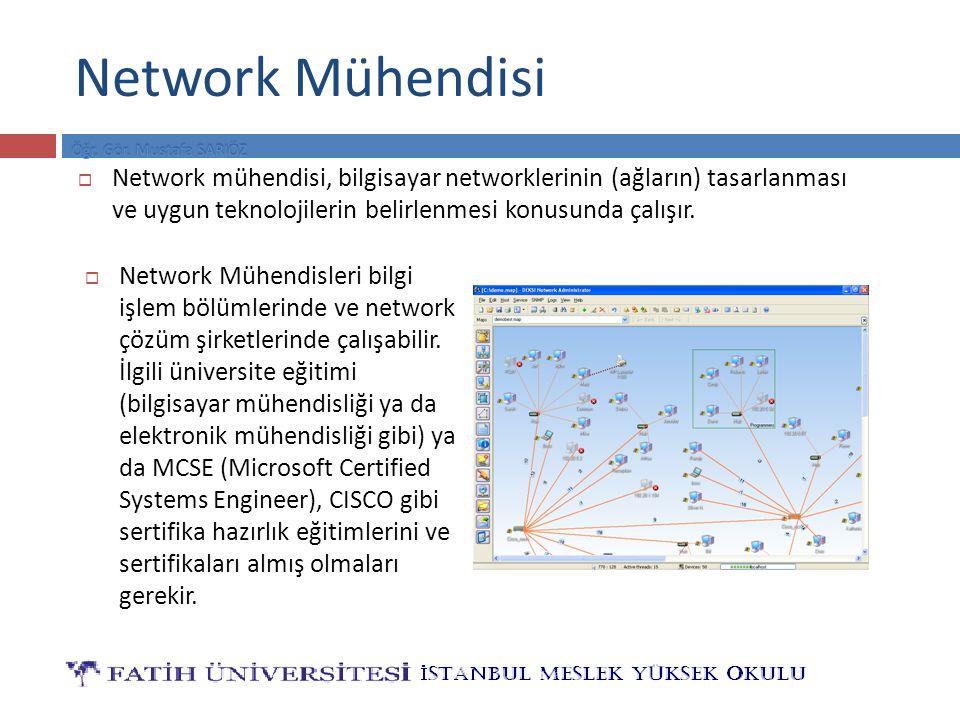 Network Mühendisi  Network Mühendisleri bilgi işlem bölümlerinde ve network çözüm şirketlerinde çalışabilir. İlgili üniversite eğitimi (bilgisayar mü