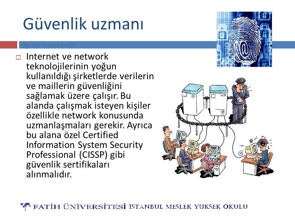 Güvenlik uzmanı  Internet ve network teknolojilerinin yoğun kullanıldığı şirketlerde verilerin ve maillerin güvenliğini sağlamak üzere çalışır. Bu al