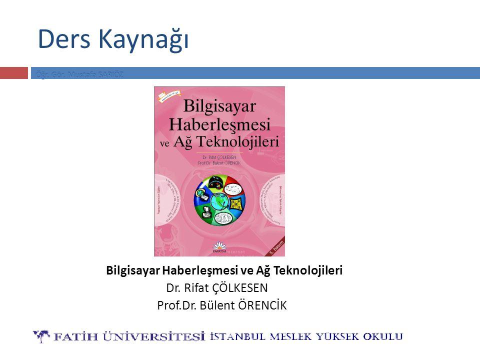 Ders Kaynağı Bilgisayar Haberleşmesi ve Ağ Teknolojileri Dr. Rifat ÇÖLKESEN Prof.Dr. Bülent ÖRENCİK