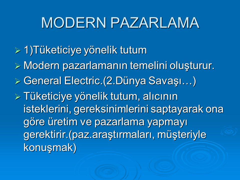 MODERN PAZARLAMA  1)Tüketiciye yönelik tutum  Modern pazarlamanın temelini oluşturur.  General Electric.(2.Dünya Savaşı…)  Tüketiciye yönelik tutu