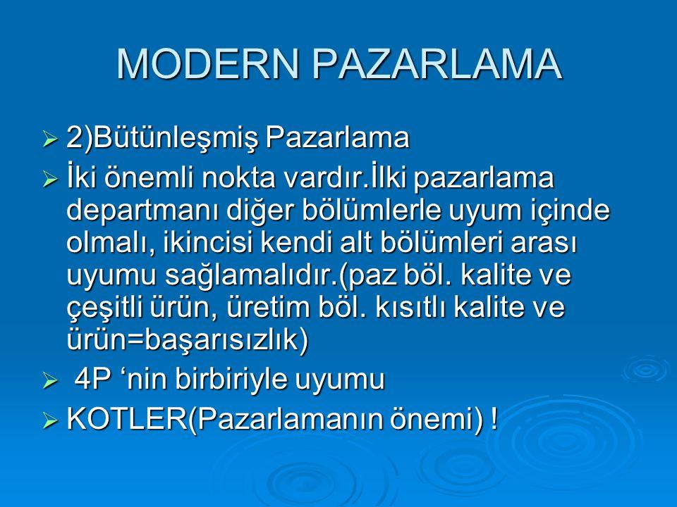 MODERN PAZARLAMA  2)Bütünleşmiş Pazarlama  İki önemli nokta vardır.İlki pazarlama departmanı diğer bölümlerle uyum içinde olmalı, ikincisi kendi alt