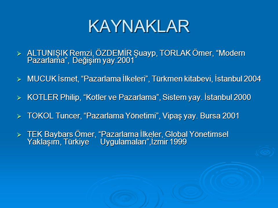 """KAYNAKLAR  ALTUNIŞIK Remzi, ÖZDEMİR Şuayp, TORLAK Ömer, """"Modern Pazarlama"""", Değişim yay.2001  MUCUK İsmet, """"Pazarlama İlkeleri"""", Türkmen kitabevi, İ"""