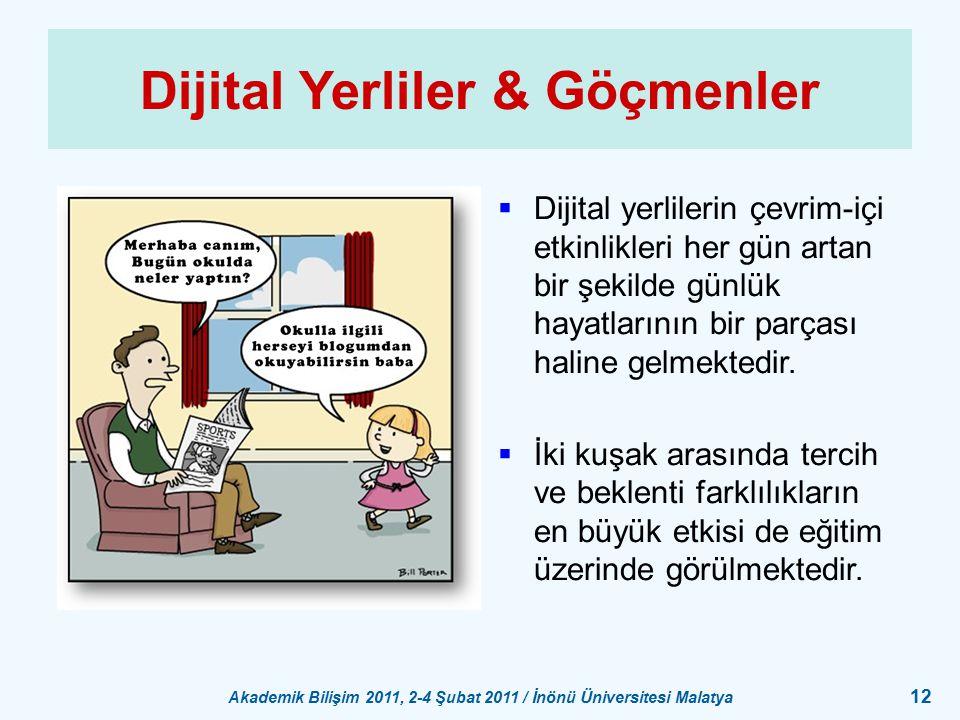 Akademik Bilişim 2011, 2-4 Şubat 2011 / İnönü Üniversitesi Malatya 12 Dijital Yerliler & Göçmenler  Dijital yerlilerin çevrim-içi etkinlikleri her gü