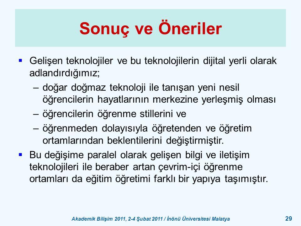 Akademik Bilişim 2011, 2-4 Şubat 2011 / İnönü Üniversitesi Malatya 29 Sonuç ve Öneriler  Gelişen teknolojiler ve bu teknolojilerin dijital yerli olar