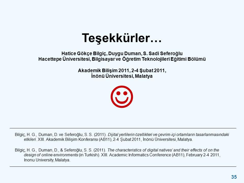 Akademik Bilişim 2011, 2-4 Şubat 2011 / İnönü Üniversitesi Malatya 35 Teşekkürler… Hatice Gökçe Bilgiç, Duygu Duman, S. Sadi Seferoğlu Hacettepe Ünive
