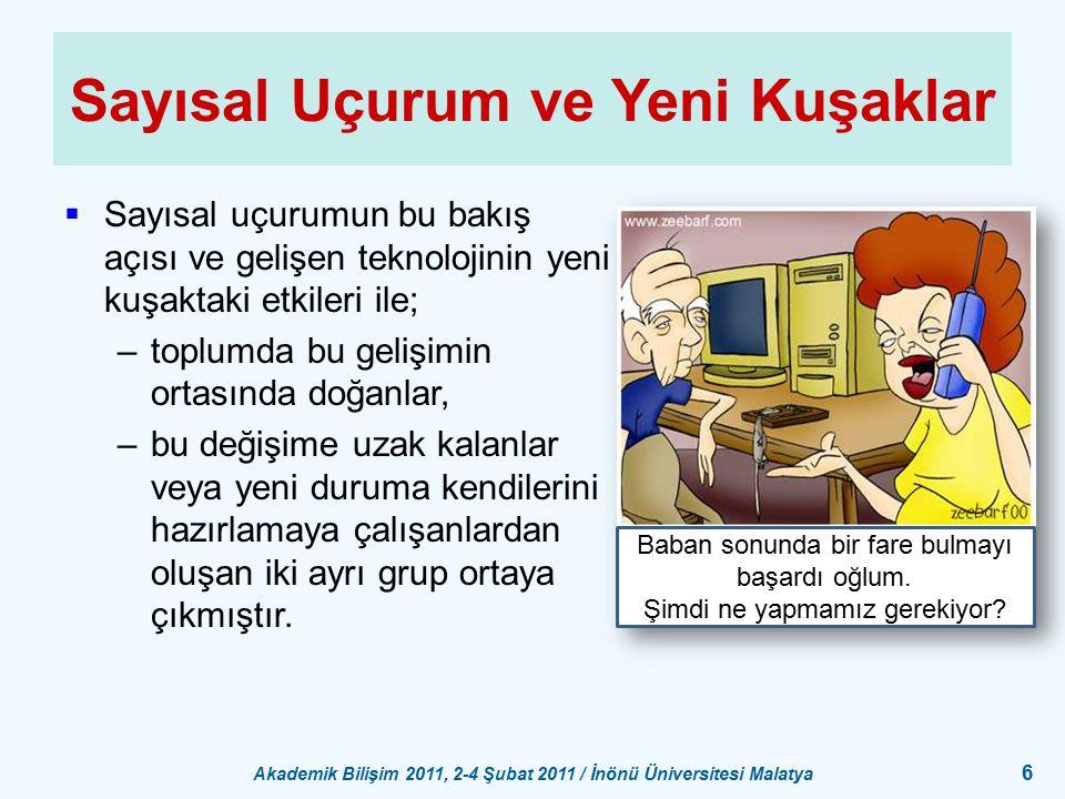 Akademik Bilişim 2011, 2-4 Şubat 2011 / İnönü Üniversitesi Malatya 6 Sayısal Uçurum ve Yeni Kuşaklar  Sayısal uçurumun bu bakış açısı ve gelişen tekn