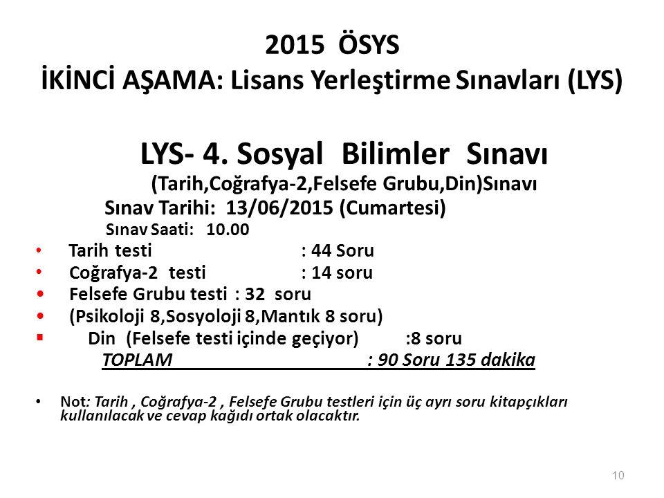 2015 ÖSYS İKİNCİ AŞAMA: Lisans Yerleştirme Sınavları (LYS) LYS- 4.