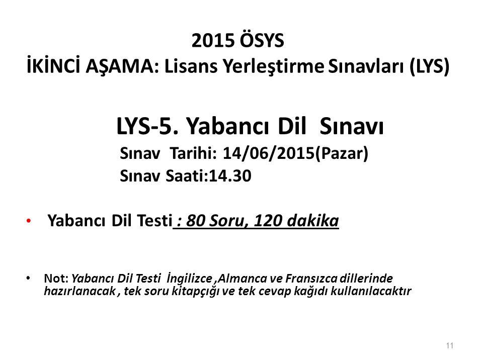 2015 ÖSYS İKİNCİ AŞAMA: Lisans Yerleştirme Sınavları (LYS) LYS-5. Yabancı Dil Sınavı Sınav Tarihi: 14/06/2015(Pazar) Sınav Saati:14.30 Yabancı Dil Tes