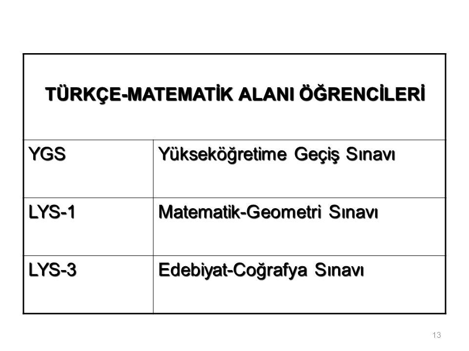 TÜRKÇE-MATEMATİK ALANI ÖĞRENCİLERİ YGS Yükseköğretime Geçiş Sınavı LYS-1 Matematik-Geometri Sınavı LYS-3 Edebiyat-Coğrafya Sınavı 13