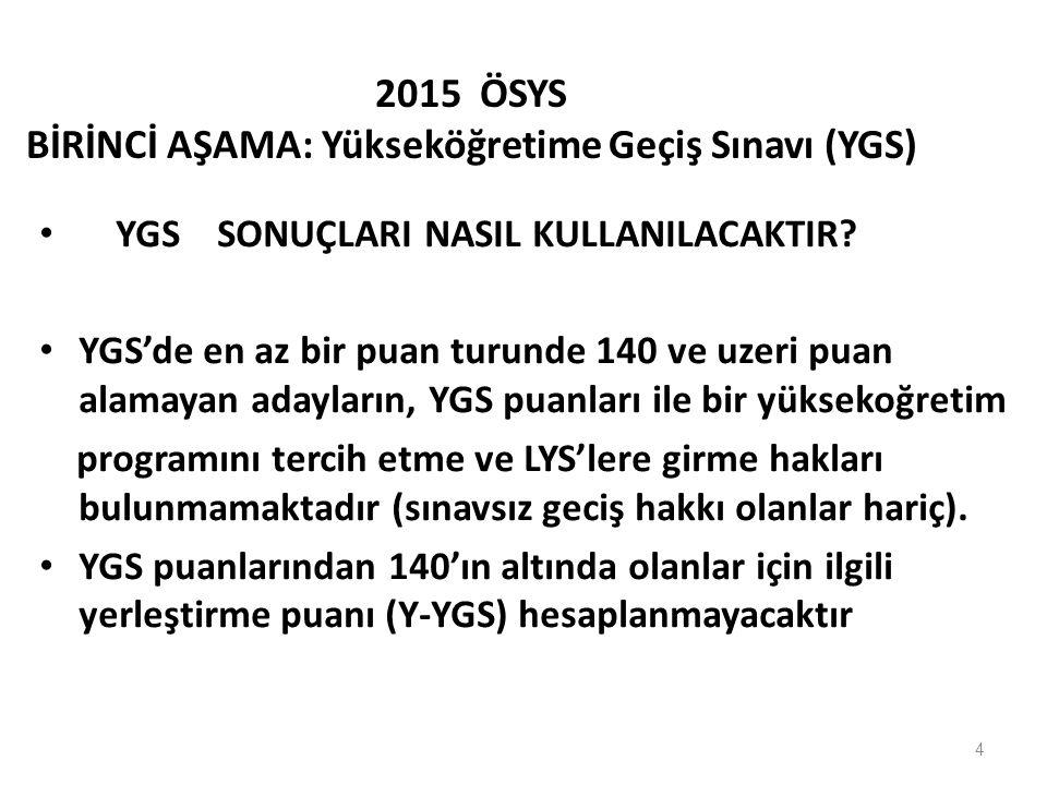 4 2015 ÖSYS BİRİNCİ AŞAMA: Yükseköğretime Geçiş Sınavı (YGS) YGS SONUÇLARI NASIL KULLANILACAKTIR.