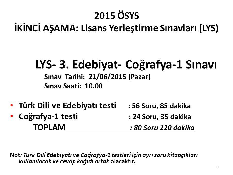 2015 ÖSYS İKİNCİ AŞAMA: Lisans Yerleştirme Sınavları (LYS) LYS- 3. Edebiyat- Coğrafya-1 Sınavı Sınav Tarihi: 21/06/2015 (Pazar) Sınav Saati: 10.00 Tür