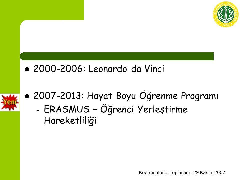 Koordinatörler Toplantısı - 29 Kasım 2007 2000-2006: Leonardo da Vinci 2007-2013: Hayat Boyu Öğrenme Programı – ERASMUS – Öğrenci Yerleştirme Hareketliliği