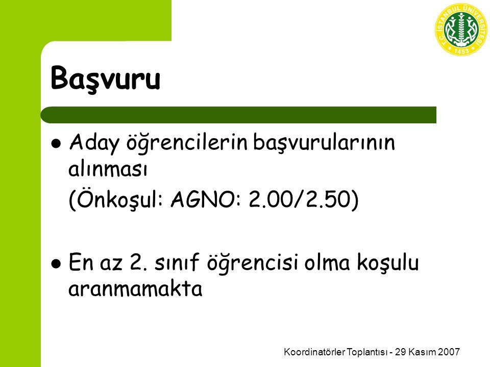 Koordinatörler Toplantısı - 29 Kasım 2007 Başvuru Aday öğrencilerin başvurularının alınması (Önkoşul: AGNO: 2.00/2.50) En az 2.