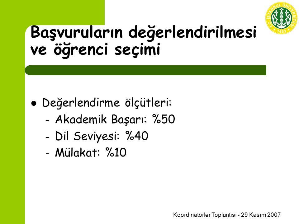 Koordinatörler Toplantısı - 29 Kasım 2007 Başvuruların değerlendirilmesi ve öğrenci seçimi Değerlendirme ölçütleri: – Akademik Başarı: %50 – Dil Seviyesi: %40 – Mülakat: %10