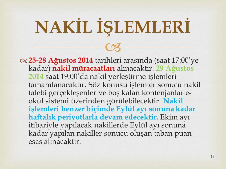   25-28 Ağustos 2014 tarihleri arasında (saat 17:00'ye kadar) nakil müracaatları alınacaktır. 29 Ağustos 2014 saat 19:00'da nakil yerleştirme işleml