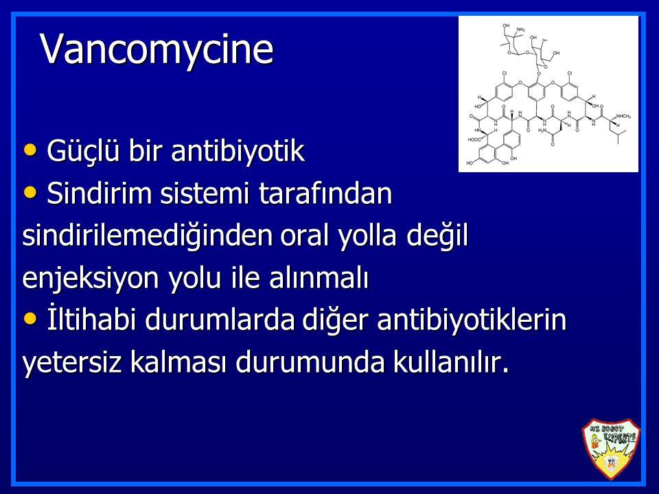Vancomycine Güçlü bir antibiyotik Güçlü bir antibiyotik Sindirim sistemi tarafından Sindirim sistemi tarafından sindirilemediğinden oral yolla değil enjeksiyon yolu ile alınmalı İltihabi durumlarda diğer antibiyotiklerin İltihabi durumlarda diğer antibiyotiklerin yetersiz kalması durumunda kullanılır.