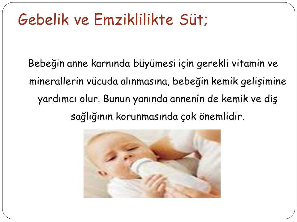 Gebelik ve Emziklilikte Süt; Bebeğin anne karnında büyümesi için gerekli vitamin ve minerallerin vücuda alınmasına, bebeğin kemik gelişimine yardımcı olur.