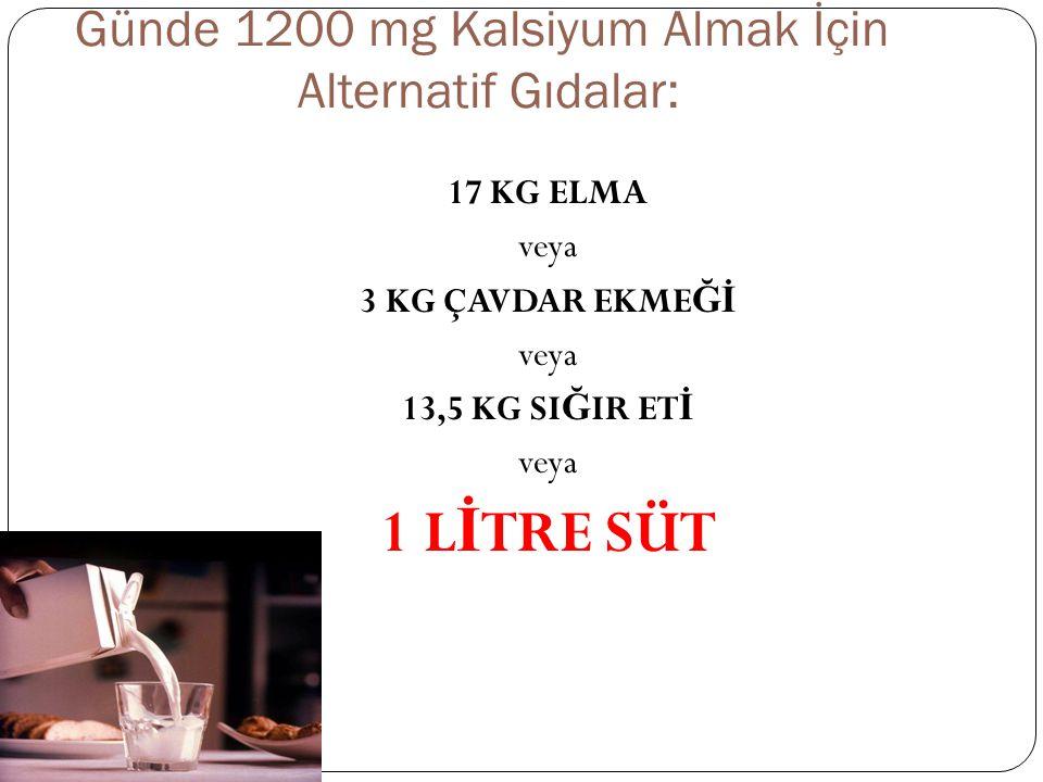 Günde 1200 mg Kalsiyum Almak İçin Alternatif Gıdalar: 17 KG ELMA veya 3 KG ÇAVDAR EKME Ğİ veya 13,5 KG SI Ğ IR ET İ veya 1 L İ TRE SÜT