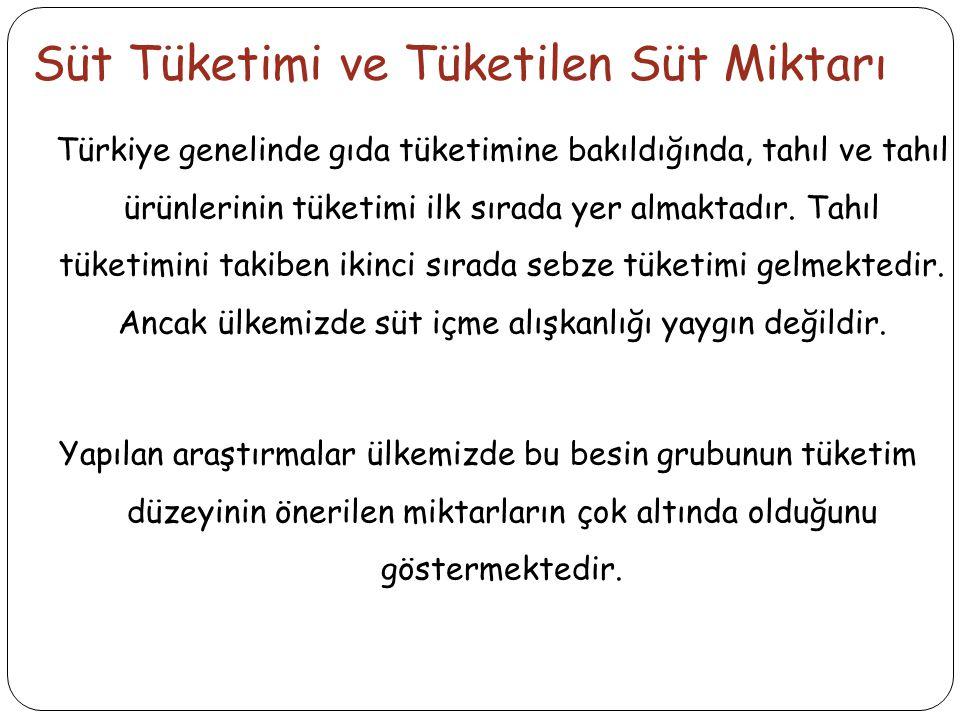 Süt Tüketimi ve Tüketilen Süt Miktarı Türkiye genelinde gıda tüketimine bakıldığında, tahıl ve tahıl ürünlerinin tüketimi ilk sırada yer almaktadır.