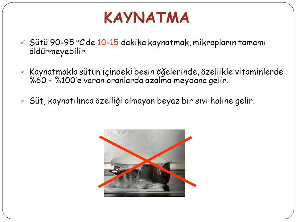 KAYNATMA Sütü 90-95 °C'de 10-15 dakika kaynatmak, mikropların tamamı öldürmeyebilir.