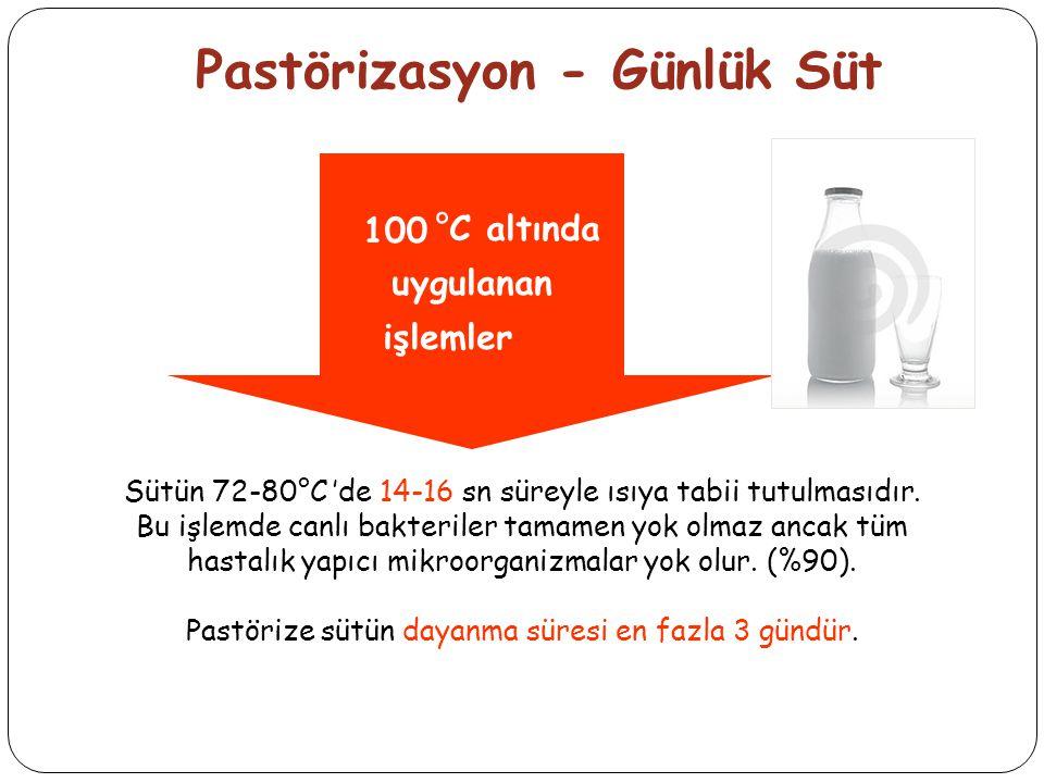 Pastörizasyon - Günlük Süt °C altında uygulanan işlemler 100 Sütün 72-80°C 'de 14-16 sn süreyle ısıya tabii tutulmasıdır.
