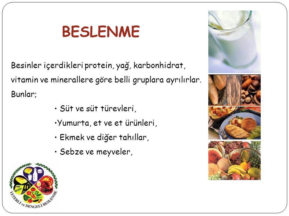 BESLENME Besinler içerdikleri protein, yağ, karbonhidrat, vitamin ve minerallere göre belli gruplara ayrılırlar.
