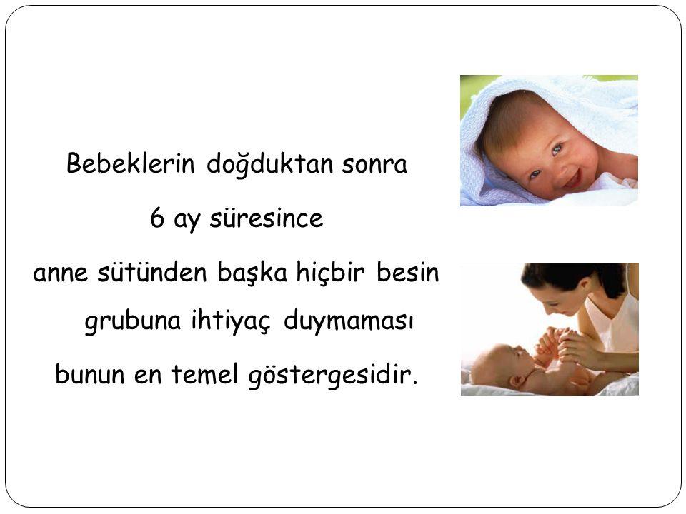 Bebeklerin doğduktan sonra 6 ay süresince anne sütünden başka hiçbir besin grubuna ihtiyaç duymaması bunun en temel göstergesidir.