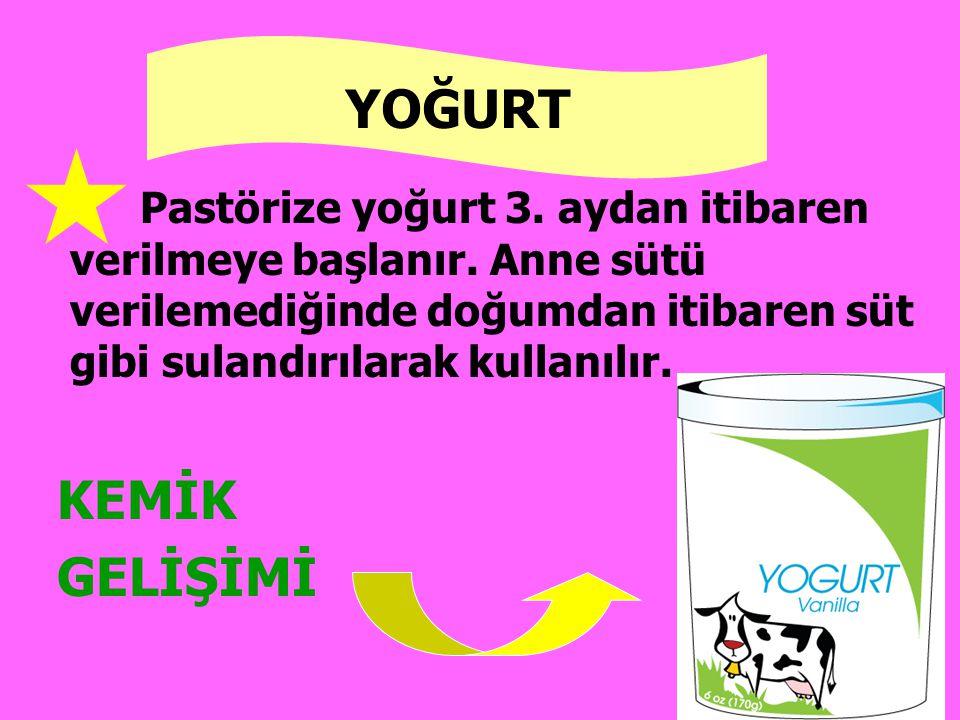 Pastörize yoğurt 3. aydan itibaren verilmeye başlanır. Anne sütü verilemediğinde doğumdan itibaren süt gibi sulandırılarak kullanılır. YOĞURT KEMİK GE