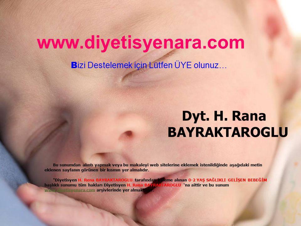 www.diyetisyenara.com B izi Destelemek için Lütfen ÜYE olunuz… Dyt. H. Rana BAYRAKTAROGLU Bu sunumdan alıntı yapmak veya bu makaleyi web sitelerine ek