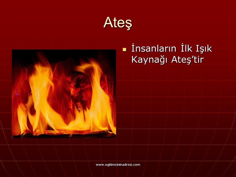 Ateş İnsanların İlk Işık Kaynağı Ateş'tir İnsanların İlk Işık Kaynağı Ateş'tir www.egitimcininadresi.com