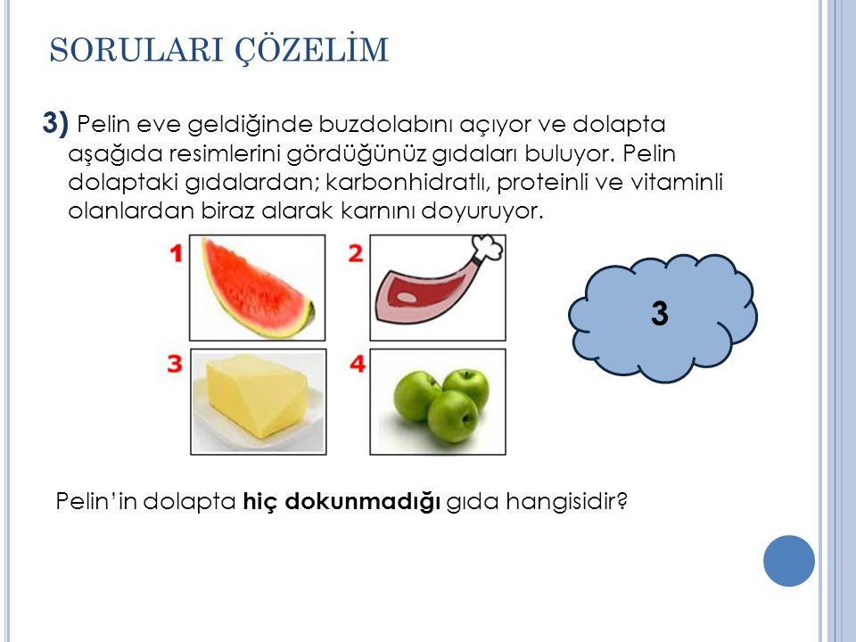 3) Pelin eve geldiğinde buzdolabını açıyor ve dolapta aşağıda resimlerini gördüğünüz gıdaları buluyor.