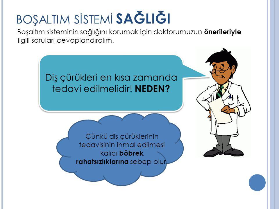 BOŞALTIM SİSTEMİ SAĞLIĞI Boşaltım sisteminin sağlığını korumak için doktorumuzun önerileriyle ilgili soruları cevaplandıralım.