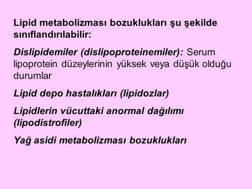 Lipid metabolizması bozuklukları şu şekilde sınıflandırılabilir: Dislipidemiler (dislipoproteinemiler): Serum lipoprotein düzeylerinin yüksek veya düş