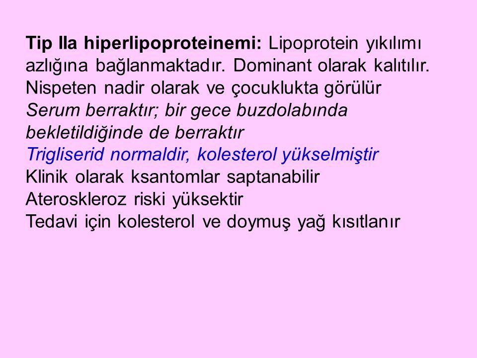 Tip IIa hiperlipoproteinemi: Lipoprotein yıkılımı azlığına bağlanmaktadır. Dominant olarak kalıtılır. Nispeten nadir olarak ve çocuklukta görülür Seru