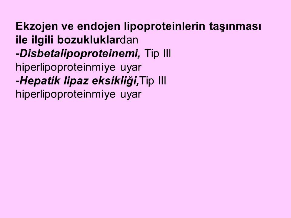 Ekzojen ve endojen lipoproteinlerin taşınması ile ilgili bozukluklardan -Disbetalipoproteinemi, Tip III hiperlipoproteinmiye uyar -Hepatik lipaz eksik