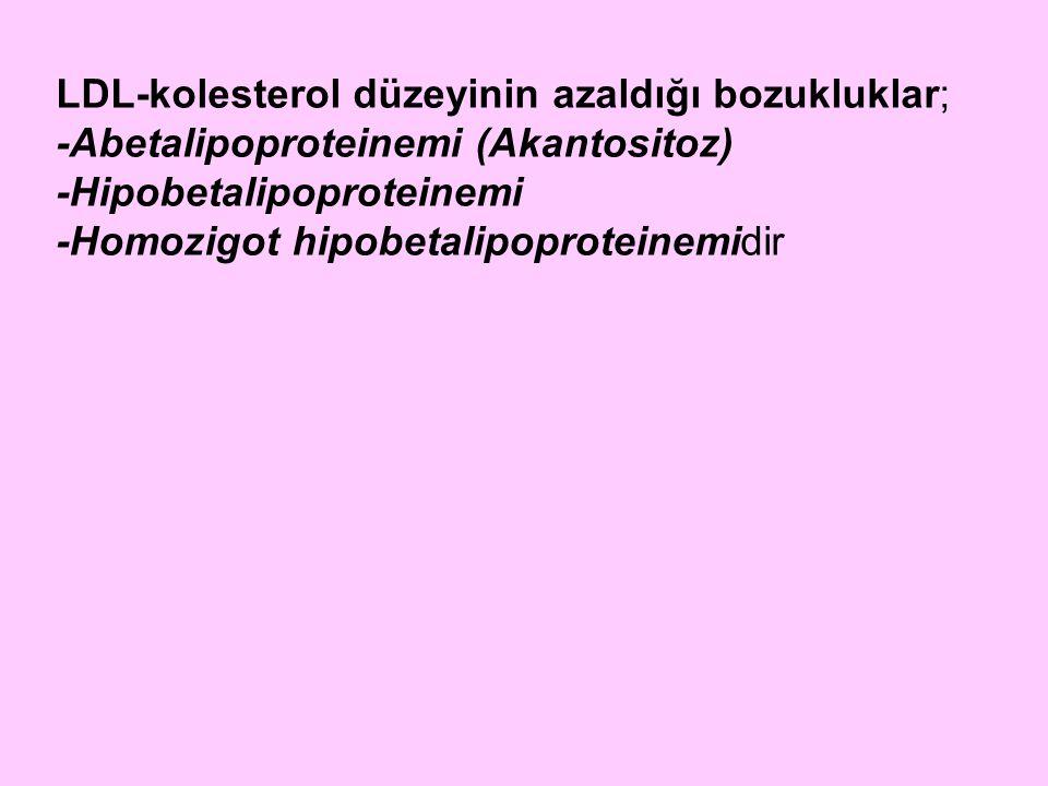 LDL-kolesterol düzeyinin azaldığı bozukluklar; -Abetalipoproteinemi (Akantositoz) -Hipobetalipoproteinemi -Homozigot hipobetalipoproteinemidir