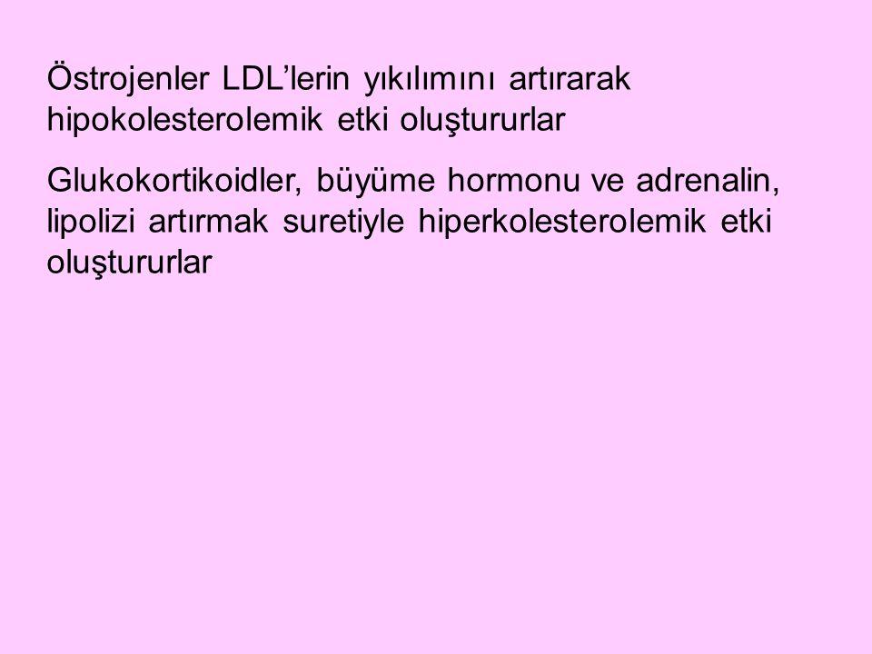 Östrojenler LDL'lerin yıkılımını artırarak hipokolesterolemik etki oluştururlar Glukokortikoidler, büyüme hormonu ve adrenalin, lipolizi artırmak sure