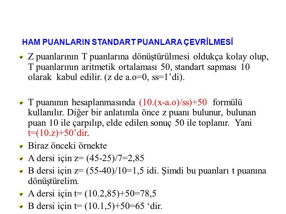 Z puanlarının T puanlarına dönüştürülmesi oldukça kolay olup, T puanlarının aritmetik ortalaması 50, standart sapması 10 olarak kabul edilir. (z de a.