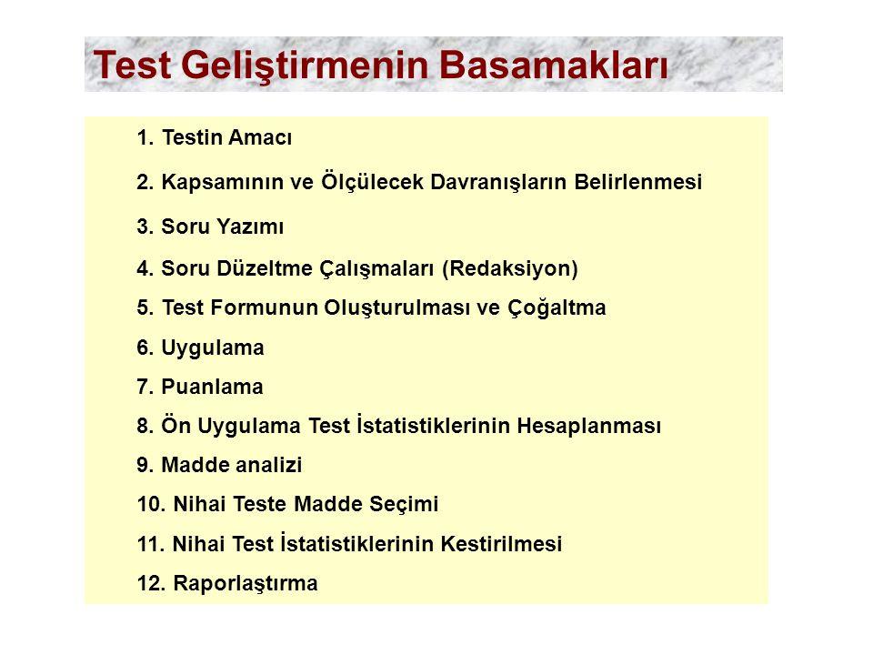 1. Testin Amacı 2. Kapsamının ve Ölçülecek Davranışların Belirlenmesi 3. Soru Yazımı 4. Soru Düzeltme Çalışmaları (Redaksiyon) 5. Test Formunun Oluştu