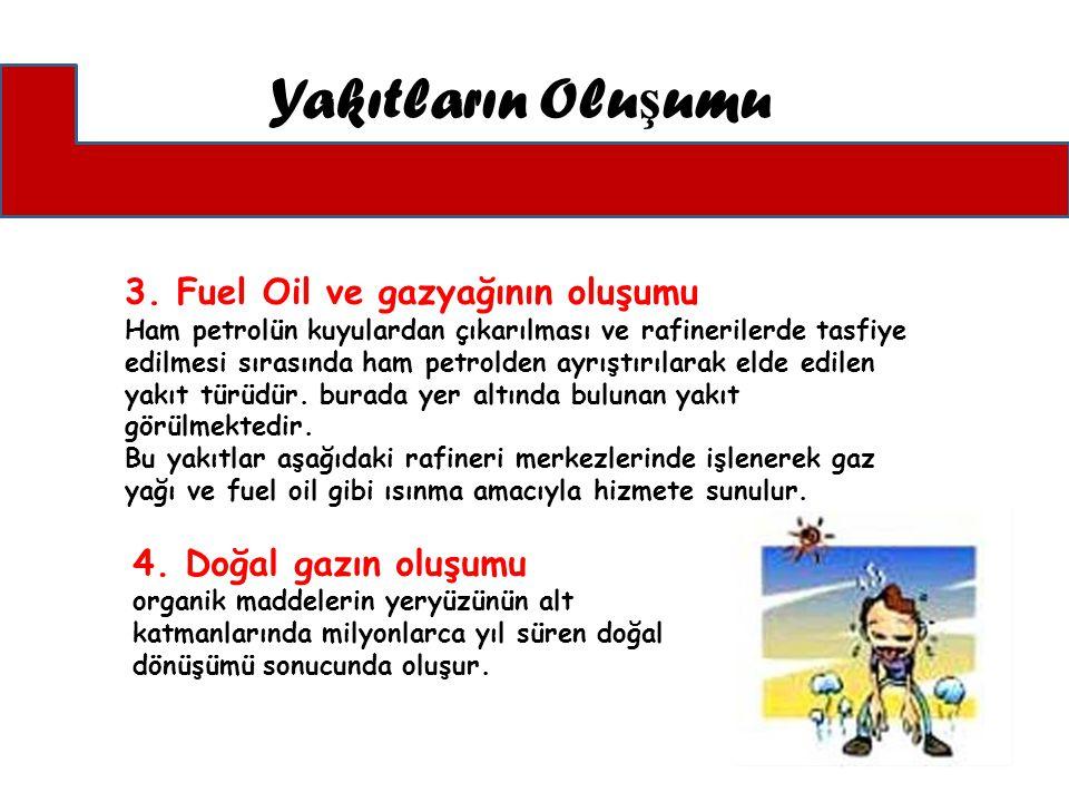 Yakıtların Olu ş umu 3. Fuel Oil ve gazyağının oluşumu Ham petrolün kuyulardan çıkarılması ve rafinerilerde tasfiye edilmesi sırasında ham petrolden a