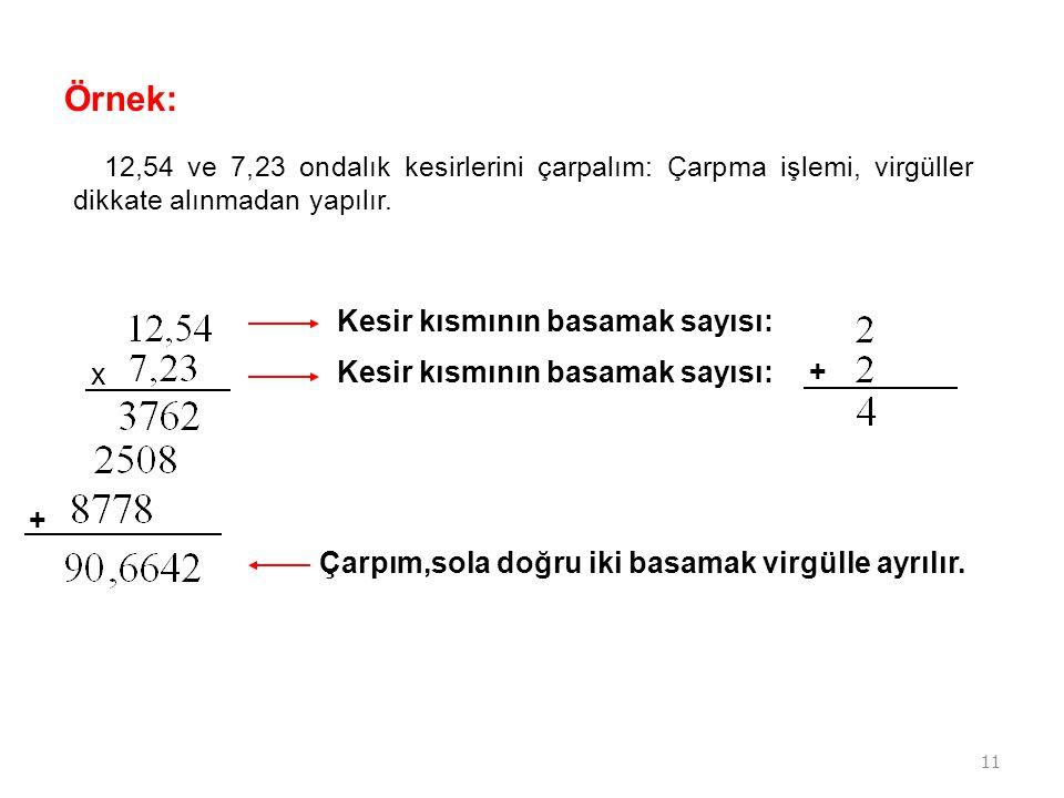 11 Örnek: 12,54 ve 7,23 ondalık kesirlerini çarpalım: Çarpma işlemi, virgüller dikkate alınmadan yapılır. x Kesir kısmının basamak sayısı: Çarpım,sola
