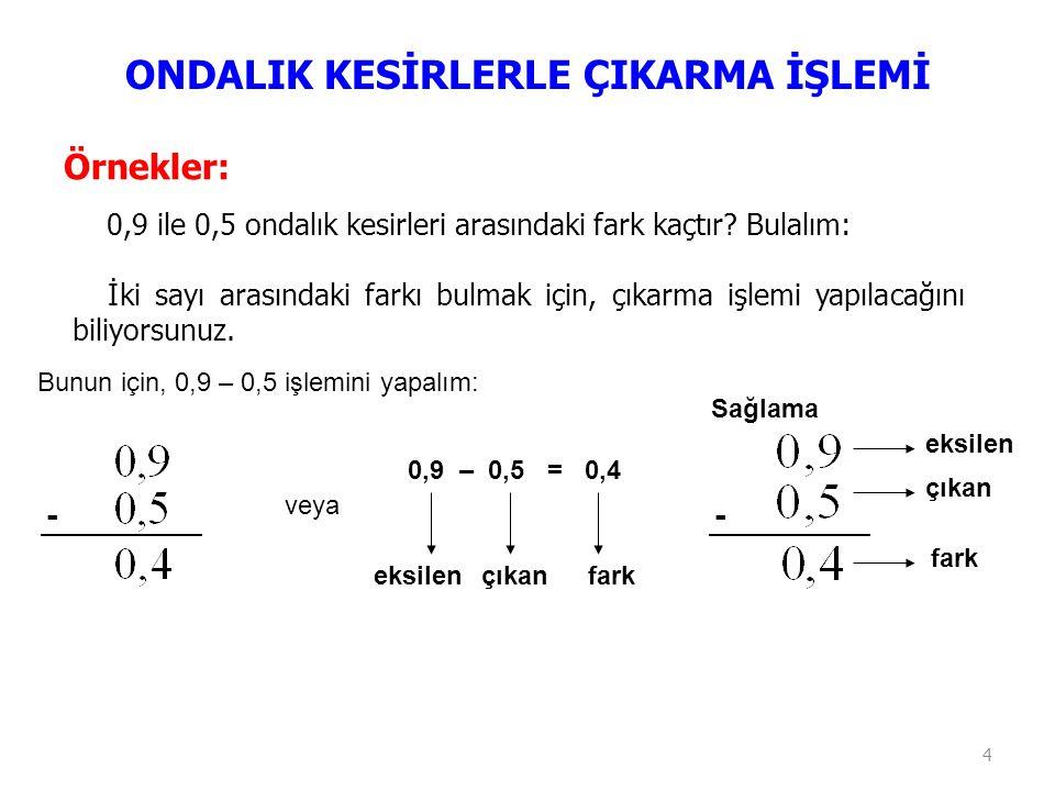 4 Örnekler: 0,9 ile 0,5 ondalık kesirleri arasındaki fark kaçtır? Bulalım: İki sayı arasındaki farkı bulmak için, çıkarma işlemi yapılacağını biliyors