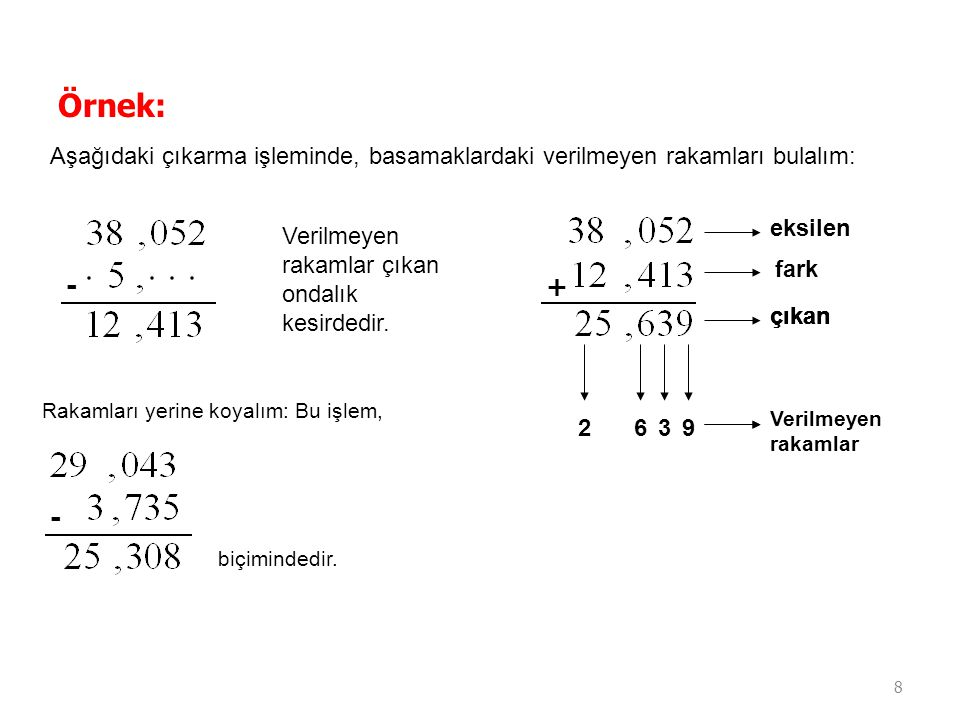 8 Örnek: Aşağıdaki çıkarma işleminde, basamaklardaki verilmeyen rakamları bulalım: - Verilmeyen rakamlar çıkan ondalık kesirdedir. + eksilen çıkan far