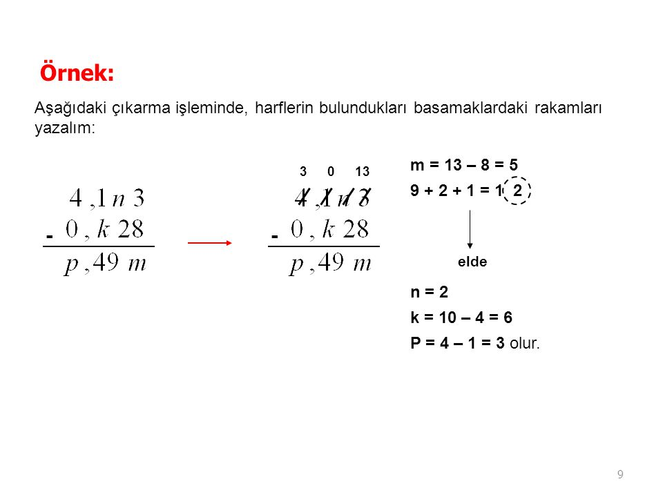 9 Örnek: Aşağıdaki çıkarma işleminde, harflerin bulundukları basamaklardaki rakamları yazalım: -- 3013 m = 13 – 8 = 5 9 + 2 + 1 = 1 2 elde n = 2 k = 1