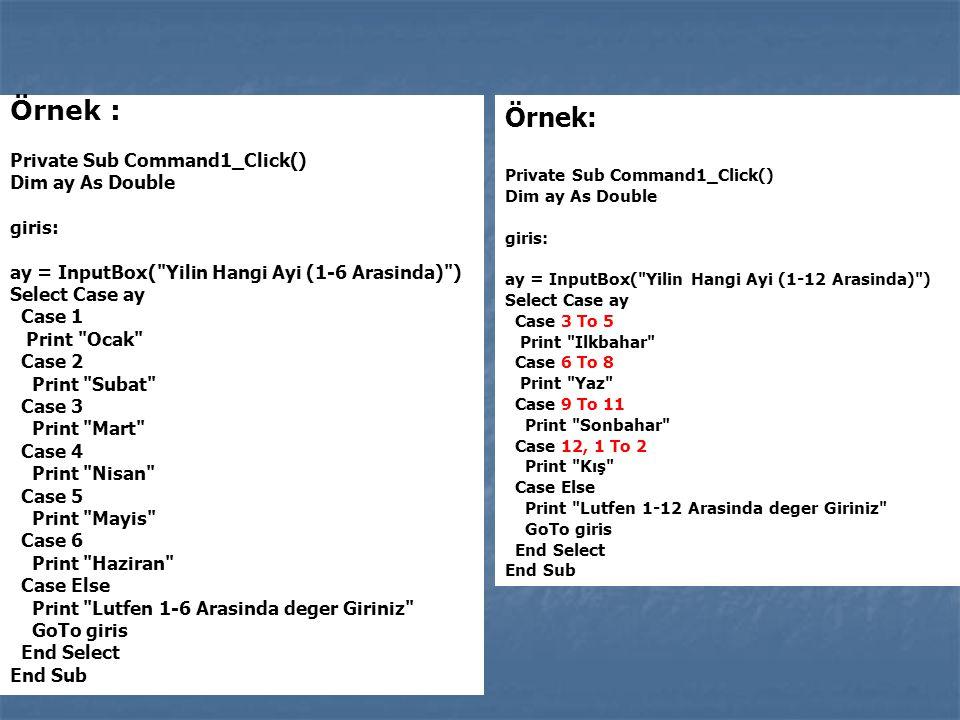 Örnek : Private Sub Command1_Click() Dim ay As Double giris: ay = InputBox(